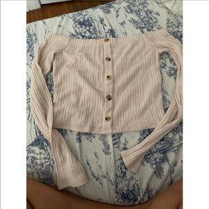 Off shoulder long sleeve shirt
